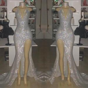 Paillettes argento scintillante Prom Dresses 2019 sexy sirena profondo scollo av alta split vestito da sera delle donne abiti da festa vestidos BC0633