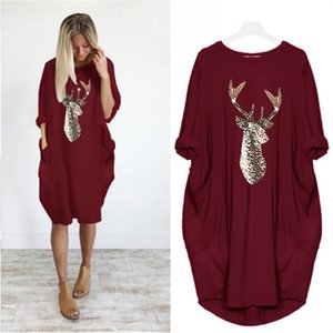 Christmas pattern printing round neck dress Wei autumn and winter new style of foreign trade in Europe and America women's dress wholesale