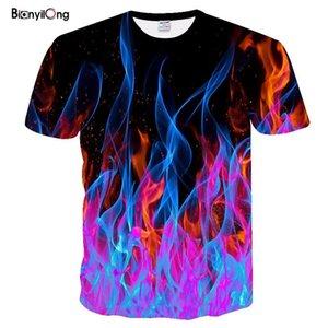 Nueva camiseta de los hombres de color de la llama camisetas Hombres Mujeres camiseta Negro Impreso 3D camisetas casuales camiseta de manga corta animado tapas de la camiseta