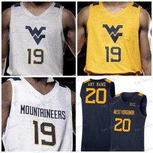 Personalizados WVU West Virginia Mountaineers 2020 Baloncesto Culver 34 Oscar Tshiebwe Jevon Carter Emmitt Matthews Jr. Sagaba Konate Knapper Jersey