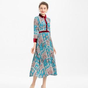 벨벳 바느질 인쇄 보헤미아 긴 소매 싱글 브레스트 내기 셔츠 중간 길이 드레스 봄과 여름 새로운 고품질