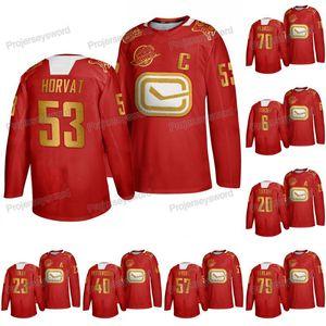 Vancouver Canucks Bo Horvat 2020 del Año Nuevo Lunar año de la rata jersey rojo Brock Boeser Alexander Edler Elias Pettersson Quinn Hughes Jersey