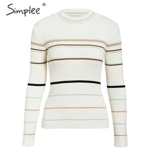 Simplee Slim striped pullover sweater Knitted chic stand collar women sweater Casual autumn winter ladies streetwear jumper