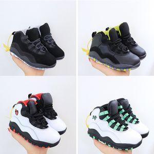 Çocuklar Çocuk J 10s Seattle Beyaz Siyah Kelly Yeşil Basketbol Ayakkabı Gerçek Kırmızı Erkekler Kızlar Chicago Tinker Çift Nikel Sneakers Boyut 25 Ayakkabı
