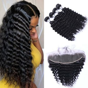 Mongolian Deep Wave Bundles with Lace Frontal Closure Natural Color Virgin Human Hair Weave 4 Bundles with Frontal