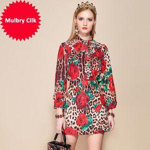 Faldas elegantes Conjunto de 2 piezas Con arco de las mujeres con cinturón Tops Estampado de leopardo floral Mini conjuntos de faldas sexy Trajes de Ladys