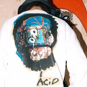 So schnell wie möglich Rocky AWGE Langarm-T-Shirt Street Retro Graffiti beiläufige lose Männer und Frauen dünne lange Hülsen-T-Shirt