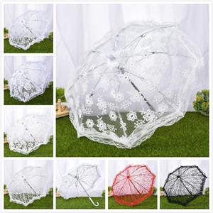 delicado encaje de algodón bordado paraguas sombrillas paraguas del estudio antiguos de encaje elegante funcionamiento de la etapa de novia paraguas de la dama de honor