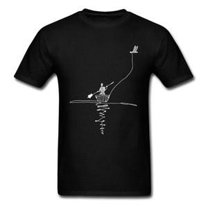 2020 Man Bird Canoe Print T Shirt Men Black White Simple Design T-shirts Short Sleeve No Fade Fit Cotton Tops For BF