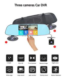 """Tre telecamere specchio DVR 5 """"1080P Car DVR Video Recorder telecamera per auto Specchietto retrovisore Loop video Dash Cam Registrar"""