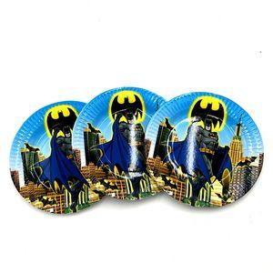 10PCS / LOT لوحات BATMAN BATMAN أطباق KIDS BIRTHDAY PARTY الحسنات HAPPY BIRTHDAY PARTY SUPPLIES BATMAN PAPER وحة أخرى الحزب الحدث ملحق