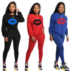 Mulheres sólidos ternos de impressão a cores Ternos Mulheres manga comprida fêmea magro Lábios Impressão De duas partes Outfits