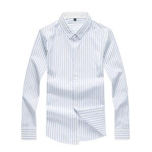 2019 Nova Moda Design Simples Camisa de Manga Comprida Listrada Slim Fit Masculino Algodão Social Trabalho de Negócios Camisa de Vestido 4XL 5XL 6XL 7XL