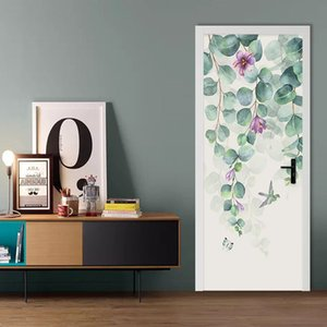 Nordic Style Tropical Leaves Flowers Door Sticker Modern Simple Home Decor Mural Wallpaper PVC Self-Adhesive Living Room Sticker