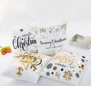 Tampa 45x45cm Feliz Natal Flannelette bronzeado capas de almofada fronha Início Sofá Praça Pillow caso decorativo GGA2833