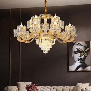 Бытовая Гостиная Люстра Европейский Спальня Столовая Исследование привело кристалл кулон лампа люкс Крытый Магазин хрустальной люстрой освещение