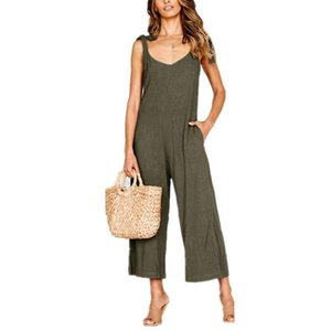 Womail Jumpsuit 2020 Summer New Women Casual Solid Loose Linen Cotton Jumpsuit Sleeveless Backless Playsuit Trousers Overalls