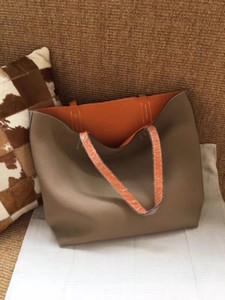 대형 패션 가방 여성 핸드백 토트 전체 가방 진짜 가죽 슈퍼 소프트 어깨 가방을 두 개의 양면 여성 최고 품질