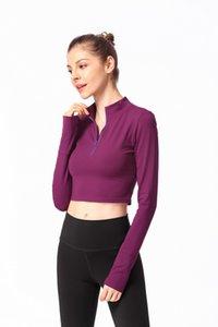 Frauen Kleidung 2019 Frühlingsmodelle Langarm-T-Shirt enge Kleidung Yoga Amerika zurück Hälfte zip Sport-T-Shirt lo shi Fitness Sleeved T-Shirt