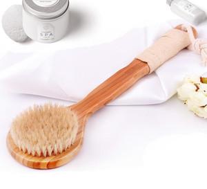 Doğal Kıl Fırça Uzun Kaymaz Sap Banyosu Vücut Brush için Ahşap Gövde Arka Maasage Sağlık Banyosu Geri Fırça