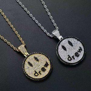 Мода улыбка лицо привлекло кулон ожерелье мужчин роскоши дизайнер мужских побрякушки алмаза Emoji подвеску Justin Bieber же письмо ожерелья ювелирного изделия