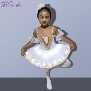 Professional LED Light White Swan Lake Ballet Tutu Costume Crianças Ballerina Dress Supplies Crianças Halloween traje vestido Club Party