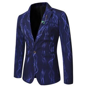 Mens chaqueta de la chaqueta de los hombres chaqueta ocasional del juego de la chaqueta de moda rayada brillante Impreso Blazer ajuste delgado del negocio para hombre Trajes formales