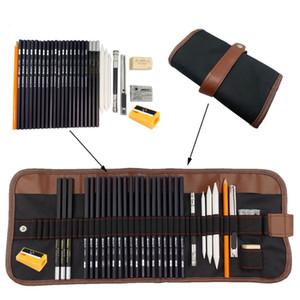 31pcs / set portáteis ao ar livre suprimentos desenho da arte Lápis Esboço do caso Ferramentas carvão Eraser Cortador Kit Bag Art Craft para o desenho