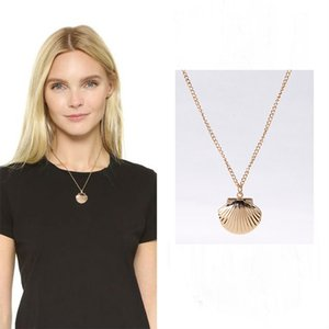 Wholesale Shell shape pendant necklace alloy metal Lockets shell shape pendant necklace korean fashion women jewelry new design