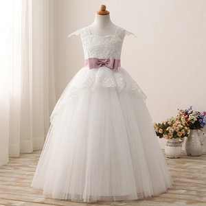 2020 Princess Ball Gown Flower Girl Dress Kids Formal Wear Applique Lace Tulle Bridesmaid Gowns For Little Girls Pageant Dress Big Bow