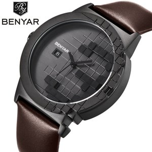 Relogio Masculino BENYAR Watch Men Waterproof Black Dial Leather Watch Strap Business Quartz Wrist Watch Clock Saat Montre Homme