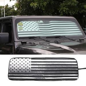 Pare-soleil de voiture pare-brise pare-soleil avant drapeau américain tapis pare-soleil pour Jeep Wrangler JL 2018 + accessoires de voiture