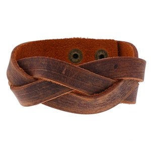 retro brown leather braid bracelet for men charms snap button wristband jewelry guitar accessories best friend bracelet gifts