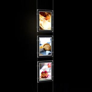 (3unit / колонки) A4 Односторонний кабель Rod Подвесного дисплея Система, водить окно дисплея Kits, Real Estate Дизайновых Дисплеев