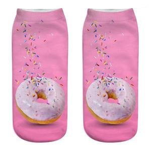 Güzel Günü Casual Çorap Delicious Donuts Bayan Çorap Tasarımcı Gıdalar 3D Çorap Renkli Donna yazdırın