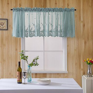 LanLan Modern Lace Hem Roman Short Window Curtain for Coffee Kitchen Cabinet Home Decor