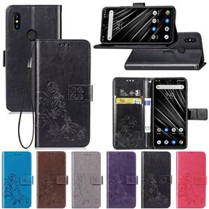 ل UMIDIGI S3 PRO محفظة حقيبة مسنده بو الجلود غطاء نمط محظوظ أربعة البرسيم مع فتحة بطاقة المحفظة حزام اليد (S3PRO)