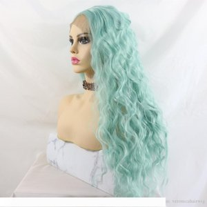 Fashion Realistic Looking Loose Curly Synthetic Lace Front Wigs Natural Hairline Heat Resistant Fiber Make Up Daily Green Wigs