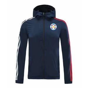 2020 Paraguay calcio con cappuccio giacca a vento cerniera mens calcio giacca a vento superiore della chiusura lampo del hoodie Sportswear Running Giacche