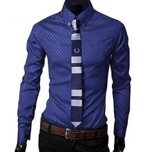 2019 Fashion Men Argyle Luxury Business Style Slim Fit Long Sleeve Casual Dress Shirt