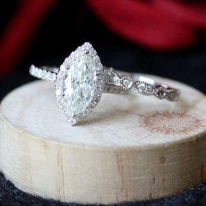 Anillo de boda anillo de compromiso 1.4ct 5.5X11mm marquesa de corte Moissanite mitad Eternidad sólido 14k de oro blanco anillo para ella S200110