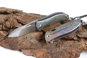 High Quality H017 Mini Small Flipper Folding Knife 9Cr18Mov Damascus Steel Blade TC4 Titanium Handle Ball Bearing EDC Knives