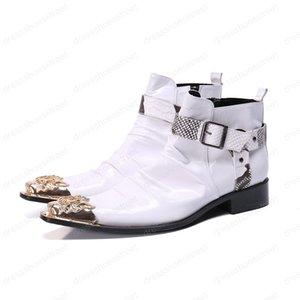 Stivaletti uomo di lusso in pelle stivali da uomo Zip punta Gold Metal Cap chaussure homme White Wedding e del partito degli uomini Stivali
