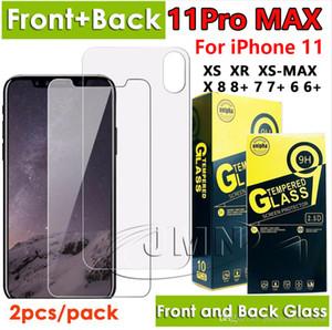 Avant et arrière trempé protection d'écran de téléphone de verre pour iphone 11 pro xs max xr x iphone 8 7 6 Plus 2pcs film de verre dans un paquet