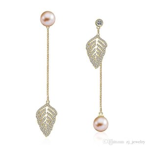 2019 Fashion Long Section Drop Earrings Gold Color Copper Zircon Leaves Pearl Design Style Personality Ladies Jewelry Gift