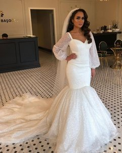 2020 Plus Size Arabic Aso Ebi Ivory Sparkly Sexy Wedding Dresses Long Sleeves Mermaid Bridal Dresses Sequined Cheap Wedding Gowns ZJ405