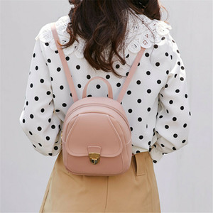 2019 Women Leather Backpack Children Backpack Mini Backpack Women Cute Panelled Backpacks for Teenage Girls Small Bag Hot