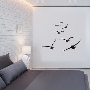 Honc Una multitud de aves marinas engomadas de la pared de la sala dormitorio principal fondo de DIY decoración mural Adhesivos de Arte Pegatinas tallados