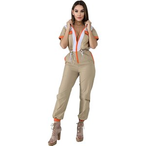 Vintage Patchwork Zipper Female Jumpsuit Casual Short-Slave Turn-Down Collar Slim Rompers Lace Up Bandage Overalls For Women Y200422