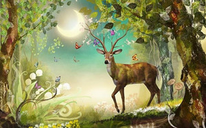Printing Wallpapers Mural Wallpaper For Living Room Elk Forest non-woven Desktop Wallpaper